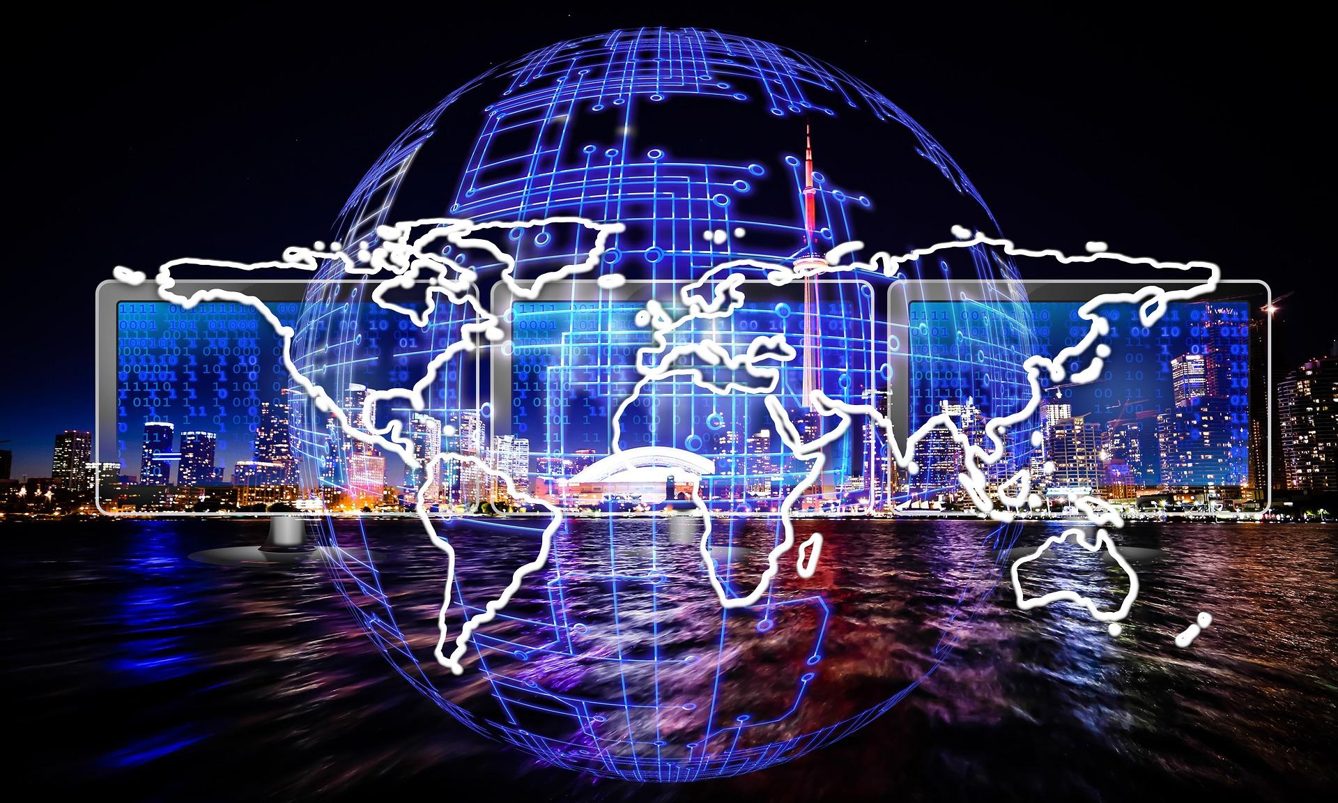 Jorden med computerskærme og hoteller